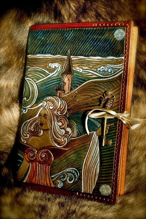 Tooled leather A5 travel sketchbook Ys breton myth legend