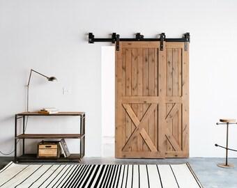 Bypass Industrial/Classic Front Strap Sliding Barn Door Closet Hardware