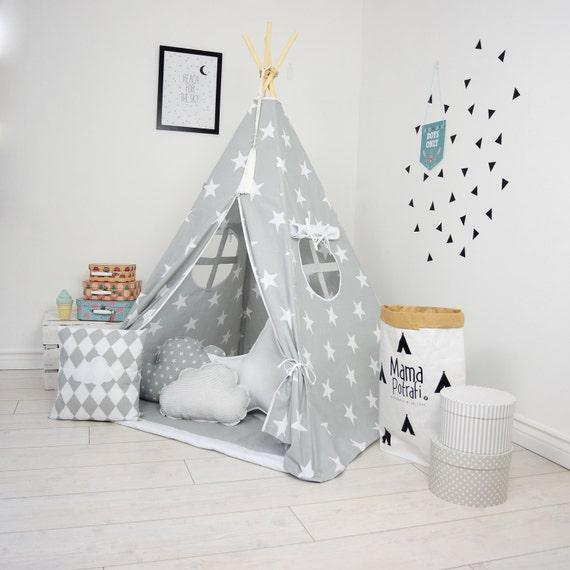 tipi pour enfants jeu tipi tipi tente ensemble gris tipi. Black Bedroom Furniture Sets. Home Design Ideas