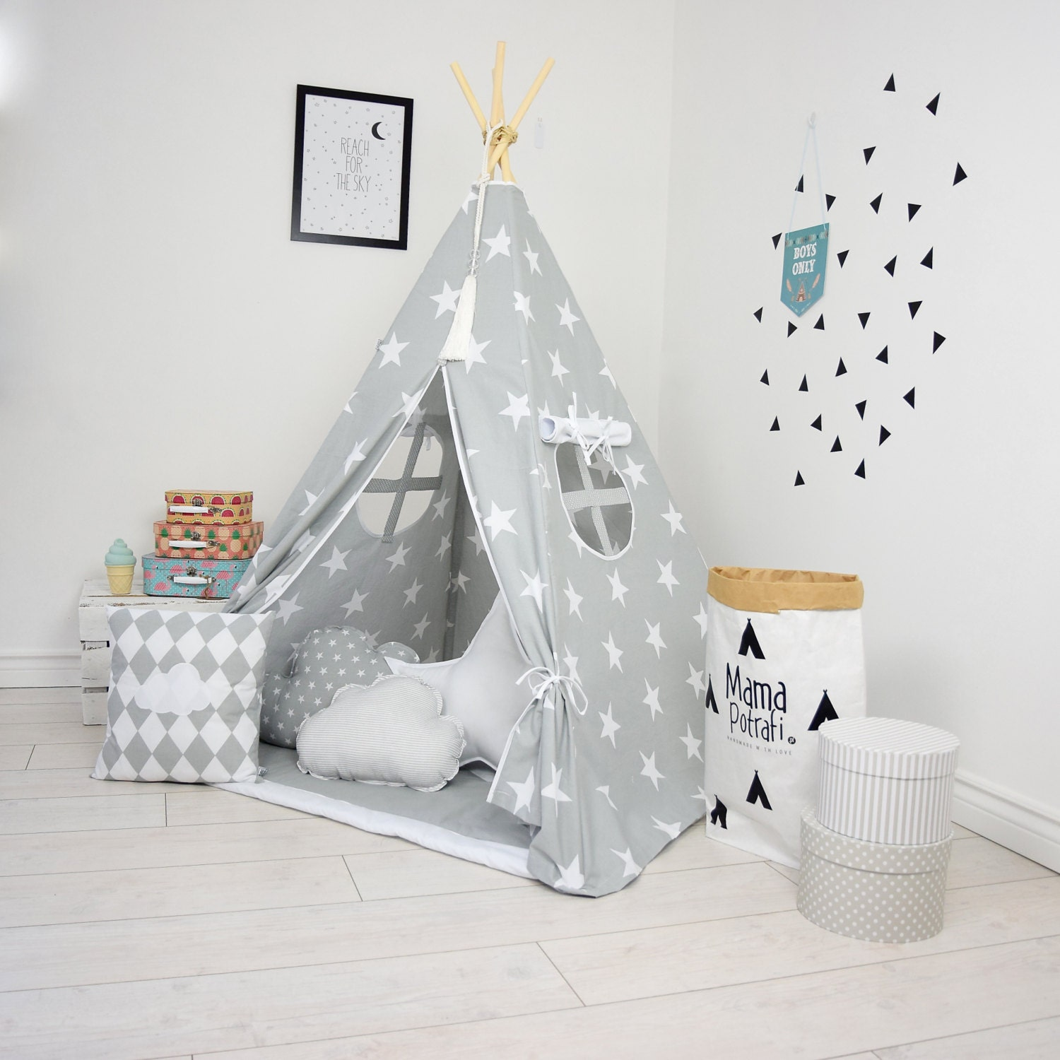 tipi pour enfants jeu tipi tipi tente ensemble gris tipi. Black Bedroom Furniture Sets. Home Design Ideas