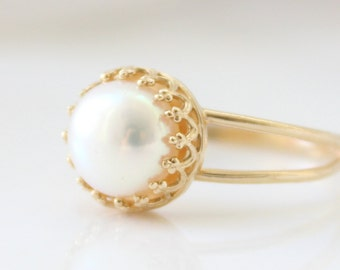 Gold Pearl Ring • Bridal ring • Promise ring