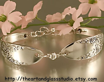 Silver Spoon Bracelet ROSE & LEAF Jewelry Vintage, Silverware, Gift, Anniversary, Wedding, Birthday