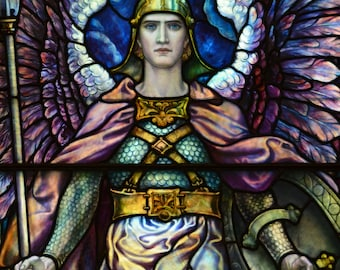 Victory - Fine Art Giclee Print of Antique Stained Glass Window, Archangel, Soldier, Warrior, Wall Art, Home Decor, Angel