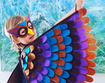 Owl Costume, Wings and Mask, Purple, Aqua and Brown, Owl Gift, Best Kids Gift, Waldorf Toy, Eco-Friendly kids toy,