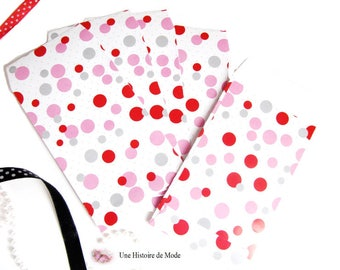 5 white pink and Red polka dot gift bags