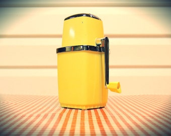 Vintage Mid Century Yellow Ice Crusher in superb condition!