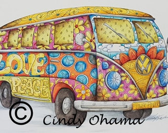 Cin-Tangle Shaggin' Wagon (Ink & Colored Pencil) by Cindy Ohama