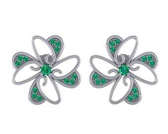 Dancing Flower Emerald Earrings, Flower Earrings, Emerald Stud, Stud Earrings, Floral Earrings, White Gold Earrings, Gift