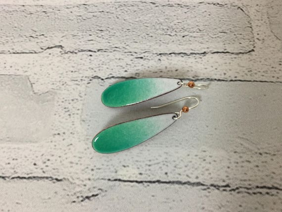 "Handmade Ombre Caribbean Green White Enameled Copper Sterling Silver Drop Dangle Earrings 2"" Professional Jewelry Metalsmith  #J19"