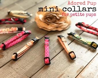 Mini Dog COLLAR, You Choose FABRIC, Small Dog Collar,  Collars for Boy, Collars for Girl,  Tiny Collars