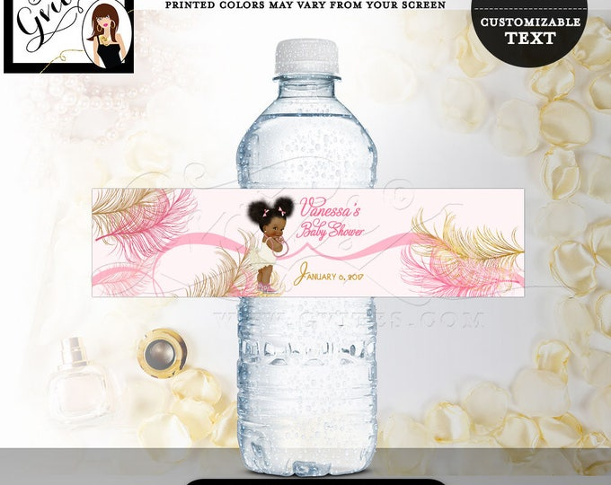 """Water bottle labels, baby shower, girl, pink and gold party decorations, stickers, favors gifts. 8x2""""/5 Per Sheet. Digital File! #RBNAPU004"""