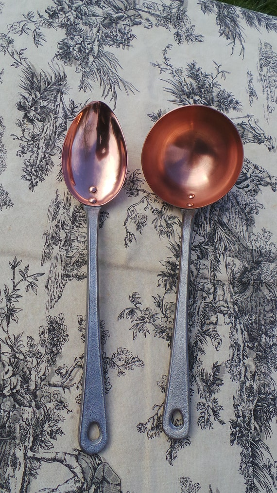 Havard of Villedieu Ladle/Louche + Big Spoon/Cuilliere Two French Vintage Copper Pair Utensils Heavy Quality Thick Solid Copper Pot