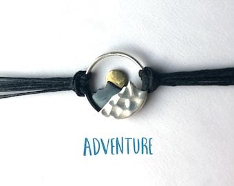 Mountain bracelet in sterling silver on linen, sunset bracelet, ready to ship, gradutation gift, gift for woman, gift for hiker, wanderlust