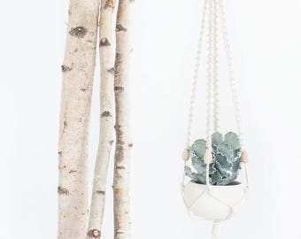 HITCH- MACRAMÉ PLANT Hanger / cotton with wooden bead details