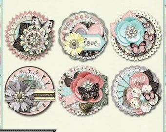 On Sale 50% Off Mom Cluster Seals Embellishments Kit for Digital Scrapbooking, Mother's Day