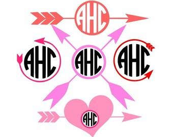 Arrow Monogram Svg, Arrows Monogram Frames, Valentine's Day, Arrows Svg, Hearts Svg, Monogram Frames, Cricut Design Space, Silhouette Svg