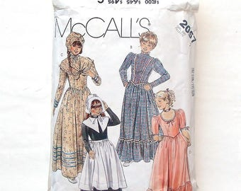 Vintage 80's McCall's #2057 Girls 18th Century Dresses w/Bonnet,Shawl,Collar, Apron Costumes Pattern #2057 Size 7 (Breast 26) Cut & Complete