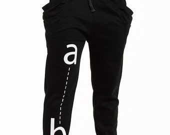 AB Joggers in Unisex Black with Banded Waist and Drawstring