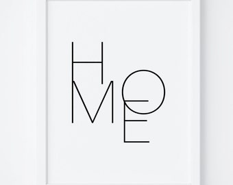 "Printable Art ""Home"" Digital Print, Typography, Poster Print, Wall Decor, Wall Art, Black and White Print. Home Print, Home Printable,Prints"