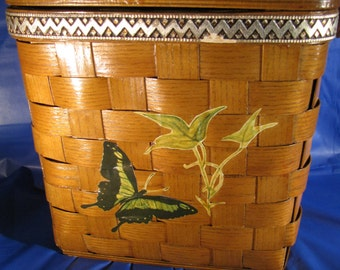 1960s Purse Butterfly Signed Stamped Wood Woven Basket Picnic Lid Sewing Style Purse Large Wood Handle Tote Style Unique ooak gift
