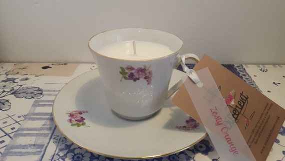 Tea cup candle. Scented soy wax vegan vintage tea cup candle, with zesty orange.  Vegan candles. Organic soy. Made in Wales
