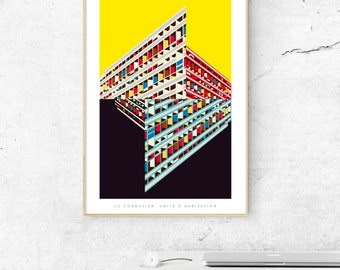 Le Corbusier's Unité d'habitation Poster - Illustrated Matte & Giclee Art Prints. Housewarming gifts - Brutalist Architecture Prints