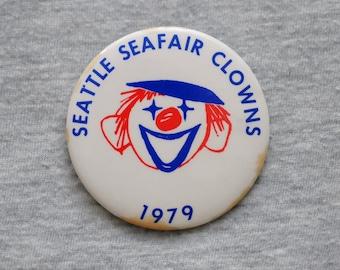 """Seattle Seafair Clowns vintage pinback button, 1 3/8"""""""