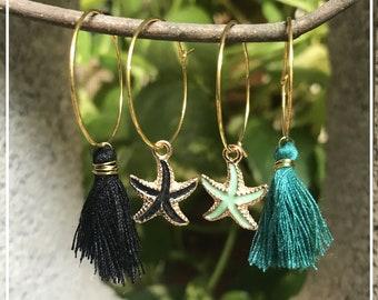 Circle Earrings with Starfish