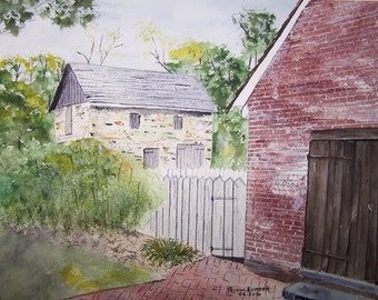 """HISTORIC painting,watercolor painting,""""ODESSA"""" DE painting, historic village,original watercolor painting, stone barn painting, delaware art"""