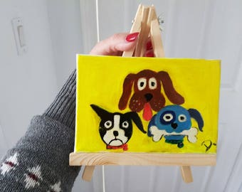 Mini Painting on Canvas & a Wooden easel