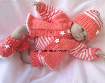 """Shayna - Gorgeous Hand Knitted Outfit for 0-3 month old Baby or 19-20"""" Reborn Doll, consisting of a cardigan, pants, hat and booties."""