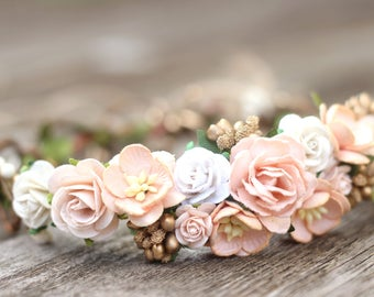 Champagne Rose Peach Ivory and Gold Flower Crown -  Bridal Hair Crown -  Greenery Floral Crown - Wedding Flower Peach - Toddler Flower Crown