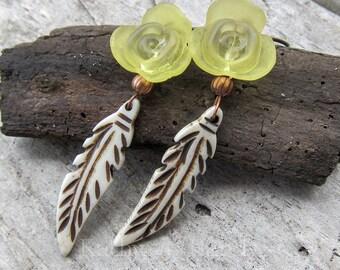Flora Fauna || Bone Feather Earrings | Nature Lover | Yellow | Flower Earrings | Earthy | Organic | Woodland Wedding | Earrings Under 20