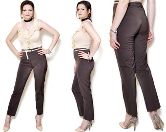 cigarette pants 90s brown vintage long woman tight boss straigth leg waisted high waist rise slacks secretary clothing body hugging edgy