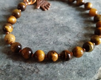 GOLDEN TIGER EYE Bead Bracelet with Copper Hook Clasp. Yellow Tigereye Stone. Choice of 6mm or 8mm Round Beads. Long Lasting, Not Stretchy.