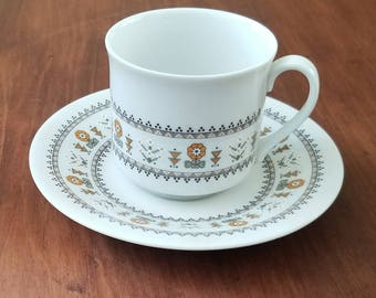 Royal Doulton England Fine China Floral Tea Cup and Saucer- Kimberly Pattern Made in England 1973