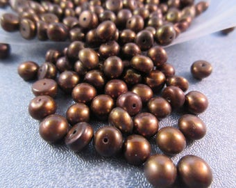 Bronze Half Drilled Freshwater Button Pearl 6mm Beads 6pcs