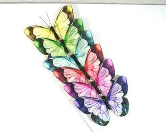 6 Big Watercolor Butterflies Rainbow Butterflies Artificial Butterflies Fake Butterfly Embellishments Cake Topper Unique Butterfly Nr 1