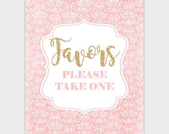 Party Favor Sign, Blush Pink Gold Favor Table Sign, Printable Party Sign, Baby Bridal Shower Glitter Favor Party Decor 8x10 Instant Download