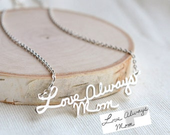 Handwriting Necklace - signature necklace - autograph necklace - Personalize necklace - Name Necklace - Handmade Jewelry