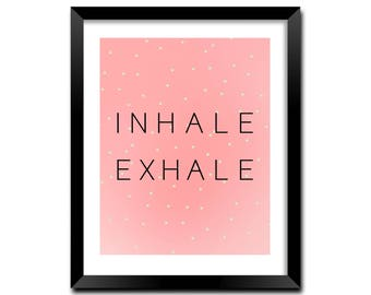 Inhale Exhale Digital Print, Bedroom Decor, Strawberry Art Print, Psychology Gifts, Relaxing Wall Art, Fitness Print, Meditation Art | M0038