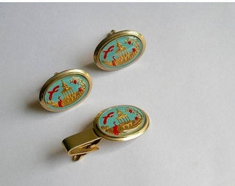 Vintage Pagoda and Birds German Reverse Intaglio Glass Cuff Links and Tie Clip
