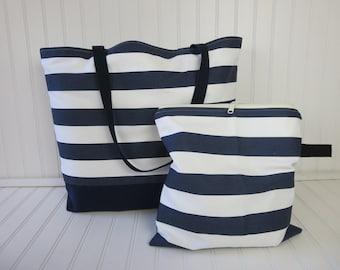 Waterproof Beach Bag - Large Beach Bag - Travel Beach Bag -  Wet Bag & Beach Bag Set - Striped Bag - Bikini Wet Bag - Interior Pocket