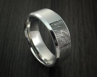 Cobalt chrome personalized fingerprint ring wedding band custom made
