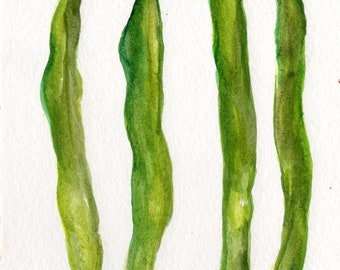 Green Beans  Watercolor Painting Original, Vegetables watercolor 4 x 6, Food illustration, kitchen art, decor, watercolor art