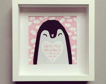Mr Penguin Framed Print Personalised Baby Christening Birth Gift