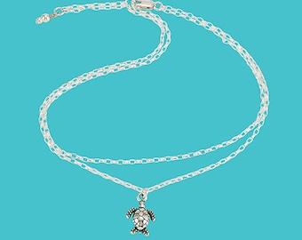 Sea Turtle Adjustable Anklet - Sterling Silver