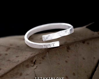Sterling Silver Custom Initial Alphabet Ring | Personalized Letter Dainty Bar Ring | Hand-Stamped HUG RING | Water Wave Texture Rings