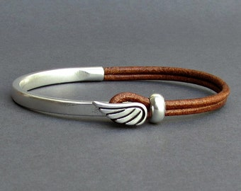 Angel Wing Mens Bracelet, Leather Mens Bracelet, Silver Plated Customized On Your Wrist