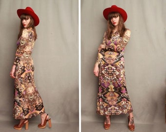 1960's Psychedelic Maxi Dress - Size S